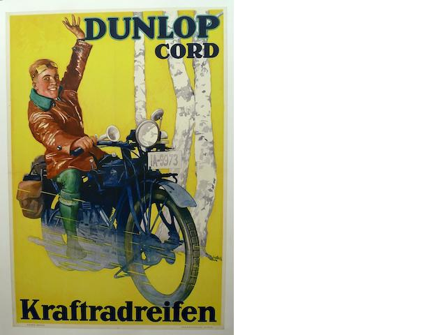 A Dunlop Cord tires advertising poster, c. 1930's,