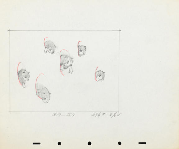A Walt Disney Studios model drawing of a chipmunk from Snow White and the Seven Dwarfs