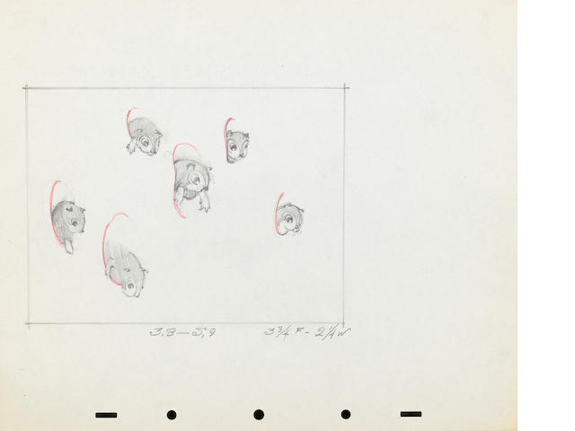 A LAYOUT PENCIL ANIMATION DRAMING OF SIX SQUIRRELS FROM WALT DISNEY'S SNOW WHITE.