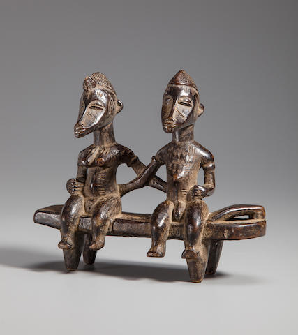 Senufo Diviner's Prop of a Seated Couple, Ivory Coast