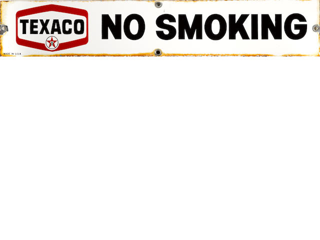 A Texaco 'No Smoking' sign, c. 1950s,