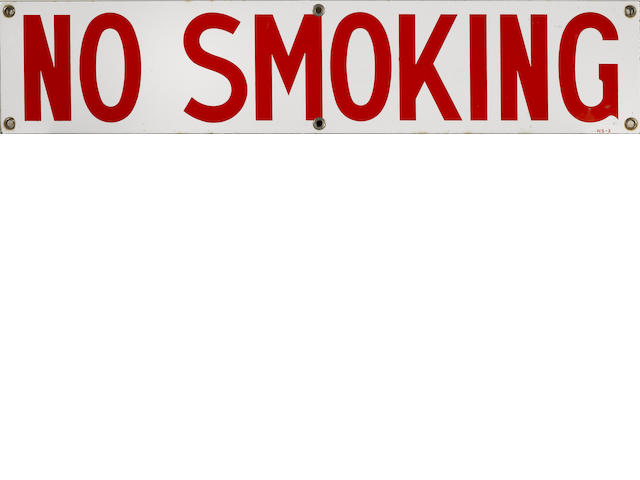 "A Standard Oil 'No Smoking"" sign,"