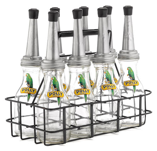 A Polly branded 8 bottle oil rack,