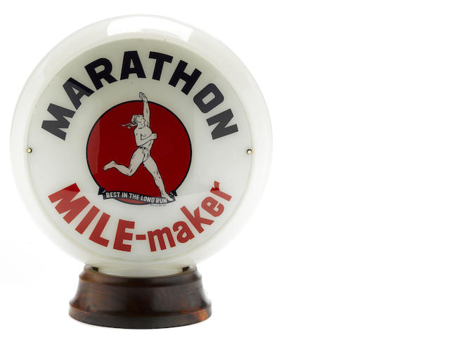 An original Marathon Mile Maker gas pump globe, c. 1930s,