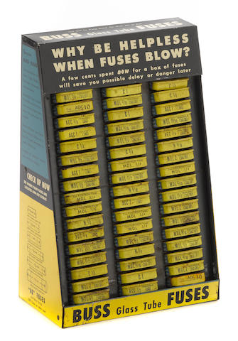 An NOS Buss fuse display, c. 1950s,