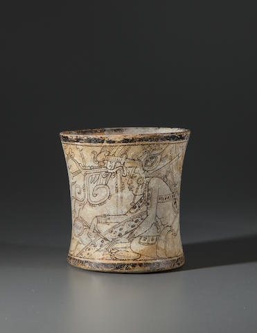 Important and Rare Maya Codex Style Vase,<BR />Late Classic, ca. A.D. 650 - 950