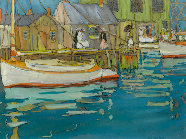 Jane Peterson (American, 1876-1965) The Boat Landing 18 x 24in