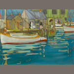 Jane Peterson, goache, boat at dock, 17' x 23""