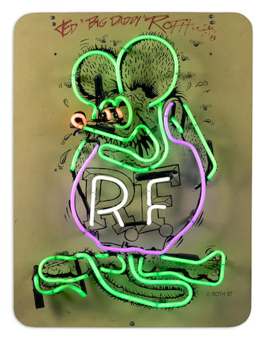 "A 'Big Daddy' Ed Roth ""Rat Fink"" neon sign,"