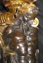 A Régence style gilt and patinated bronze figural standard <BR />late 19th century
