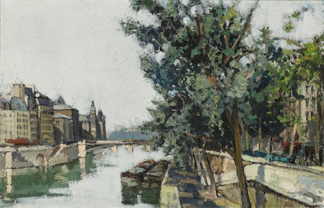 Constantine  Kluge (1912-2003) Scène à la Seine 28 1/2 x 38 1/2in. (71 x 98cm)