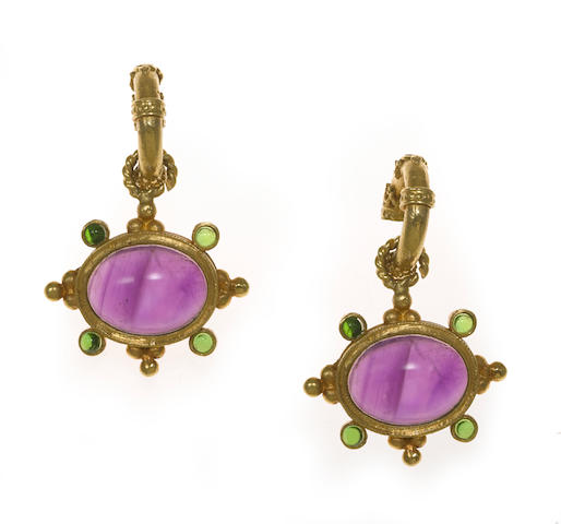 A pair of amethyst and diopside cabochon earrings, Baldazzi