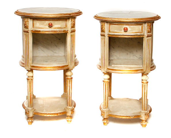 A pair of Louis XVI style paint decorated and parcel gilt side tables