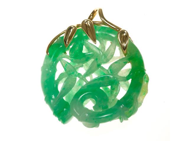 A carved jadeite jade pendant, J. Arnold Frew