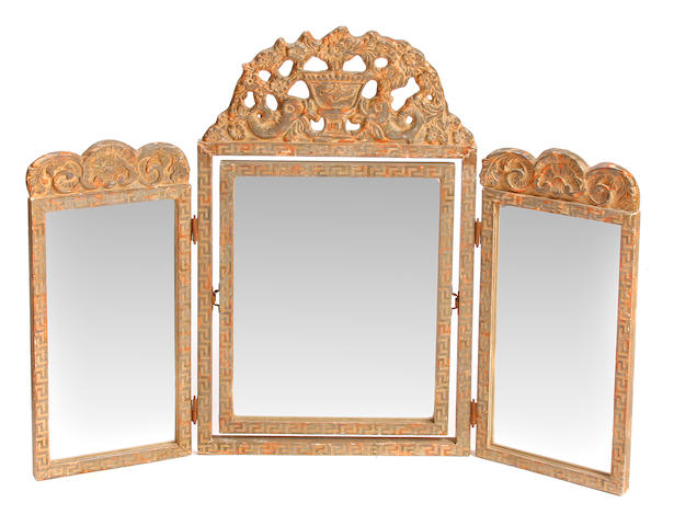 A William and Mary style silvered wood and gesso triptych dressing mirror