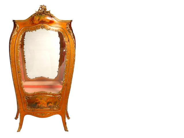 A Louis XV Vernis Martin style gilt bronze mounted vitrine