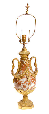 A Louis XVI style gilt bronze mounted urn, now as a table lamp