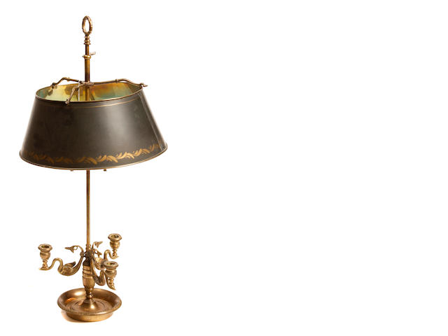 A Louis XVI style gilt bronze and tôle bouillotte lamp