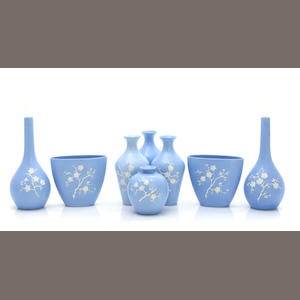 A group of eight Spode Geisha Blue pattern vases