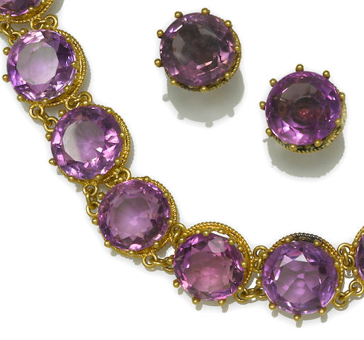 A suite of amethyst jewelry