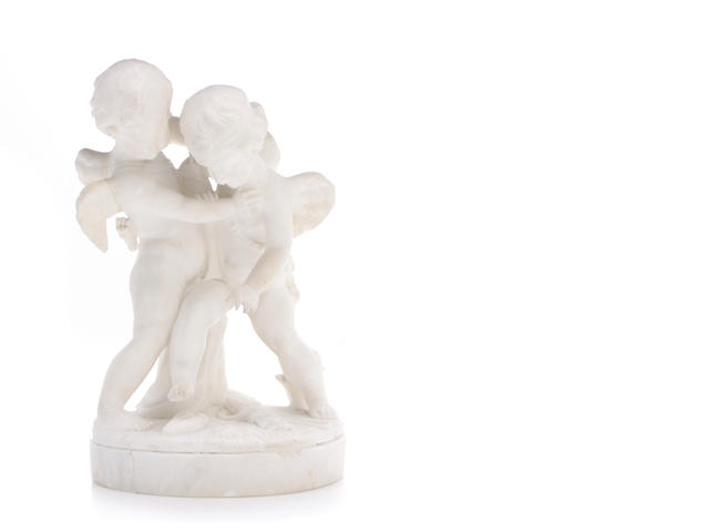 An Italian alabaster figural group of two putti