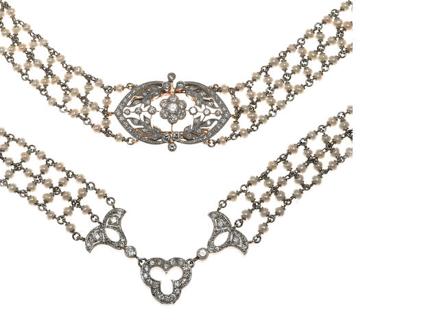 A seed pearl and diamond necklace