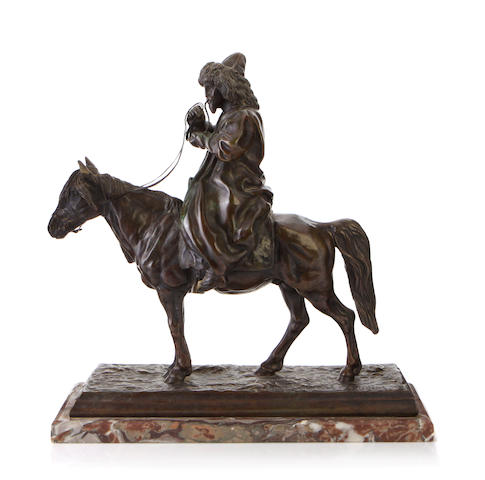A patinated bronze equestrian group  after a model by Artemy Ober (Russian 1843 -1917)