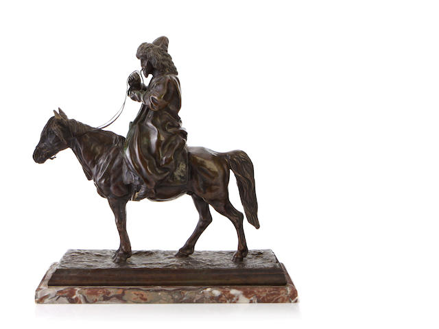 A patinated bronze equestrian group <BR />after a model by Artemy Ober (Russian 1843 -1917)
