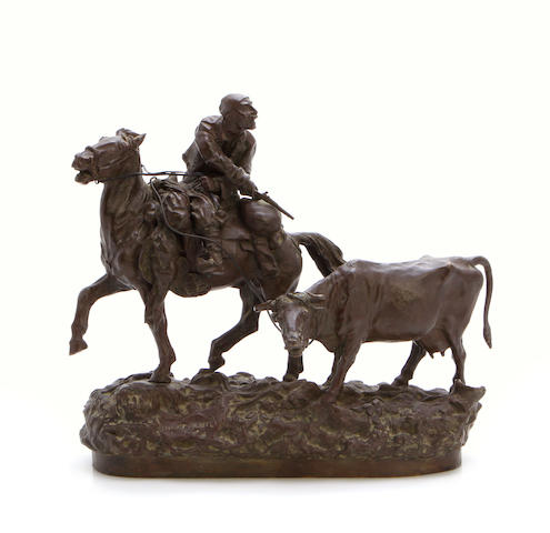 A patinated bronze equestrian group  after a model by Vasily Grachev (Russian 1831-1905)