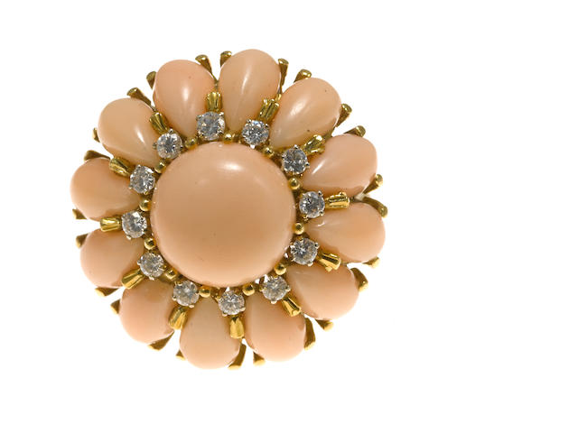 A coral and diamond bombé ring