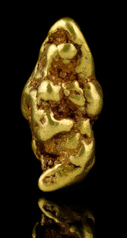 A gold nugget with limonite 6.85ozt (213.1g, 137.0 dwt
