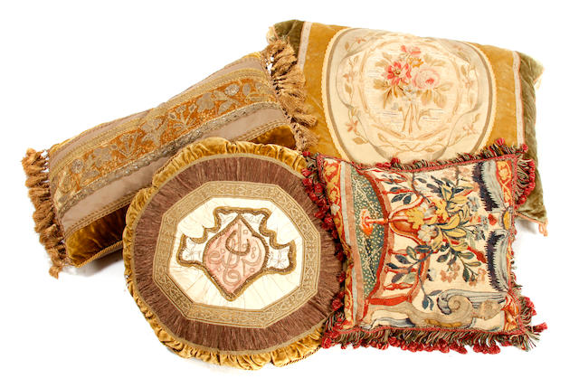 A group of thirteen tapestry fragment scatter cushions