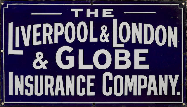 A Liverpool London & Globe Insurance Company sign, c. 1920s,