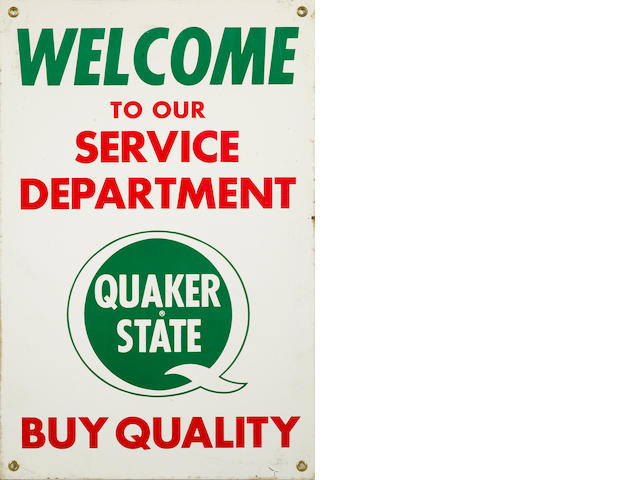 A Quaker State Service Department sign,