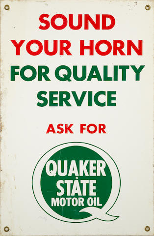 A Quaker State Service 'Sound Your Horn for Service' sign,