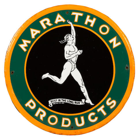 An extremely rare Marathon sign, c. 1930s,