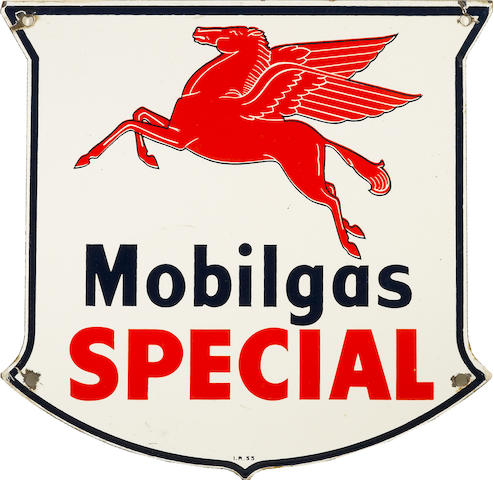 An East Coast Mobilgas Special pump plate, 1947,