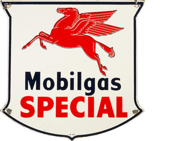 A Mobilgas Special pump plate, 1947,