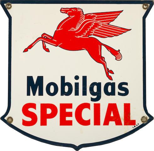 A Mobilgas Special pump plate, 1955,