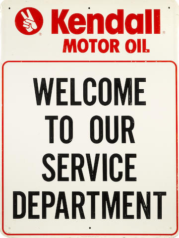 "A Kendall ""Welcome to Service"" sign,"