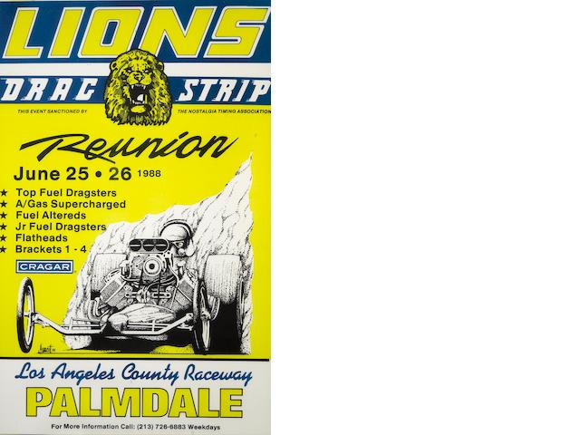 A Lions Dragstrip reunion poster,