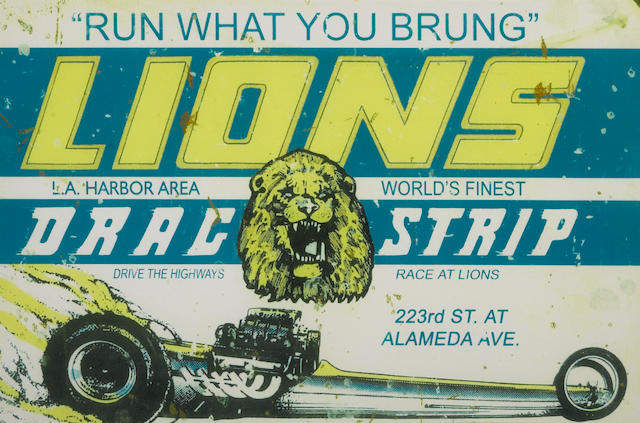 A vintage style Lions Dragstrip poster,