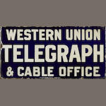 A Western Union Telegraph & Cable Office flange sign, c. 1920s,