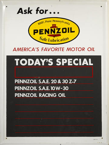 A Pennzoil 'Todays Special' chaulkboard, c.1960s,