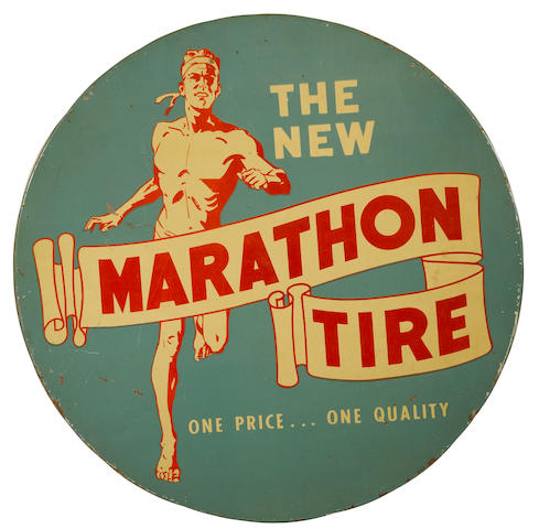 A Marathon Tire advertising sign, c. 1920s,