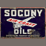 A rare Socony Aircraft Oil sign, c. 1920s,