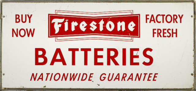 A Firestone Batteries sign, c. 1950s,