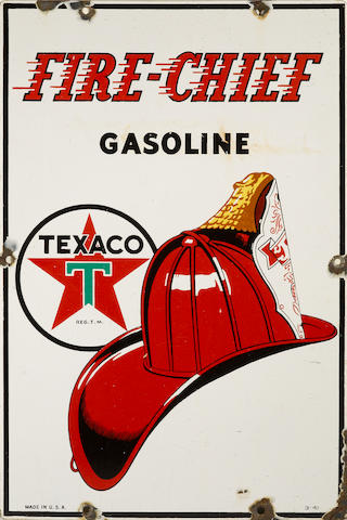 A Texaco Fire Chief pump plate, 1941,