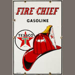 A Texaco Fire Chief pump plate, 1957,
