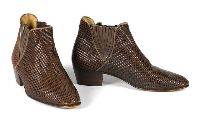 A PAIR OF SAMMY DAVIS' ITALIAN MADE, LEATHER WEAVE ANKLE BOOTS.